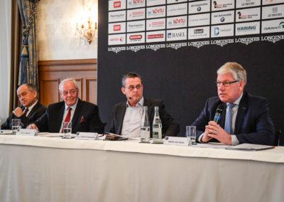20.11.2018 Medienkonferenz im Grand Hotel Les Trois Rois (v.l.): Christoph Socin (Vizepräsident), Willy Bürgin (Präsident), Dr. hc Thomas Straumann (VR-Präsident) und Rogier van Iersel (Turnierleiter)